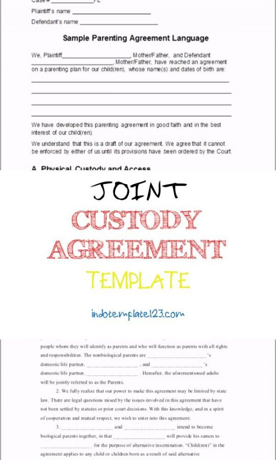 Permalink to Joint Custody Agreement Template