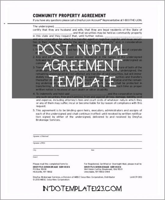 Permalink to Post Nuptial Agreement Template