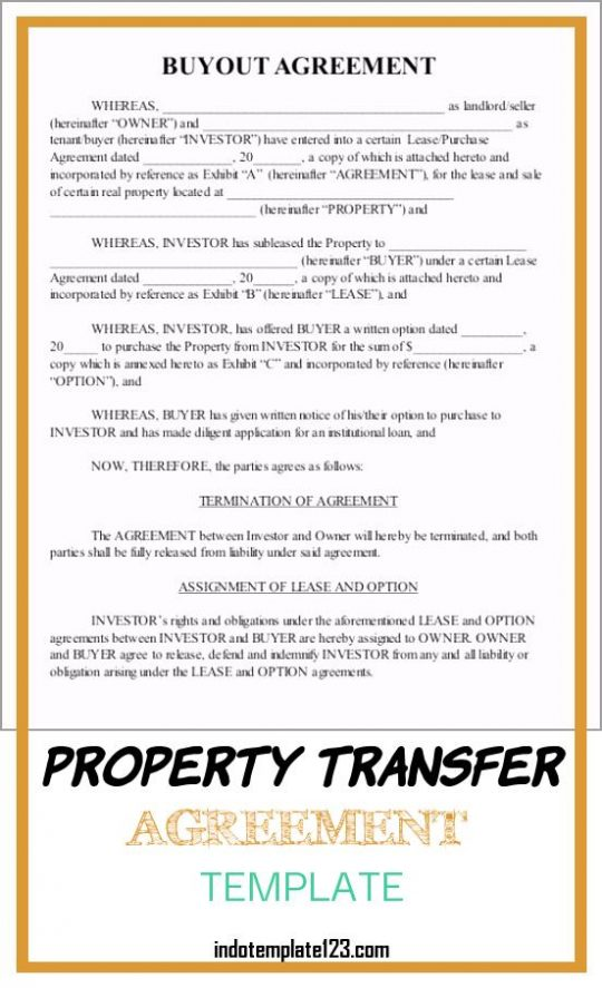 Permalink to Property Transfer Agreement Template