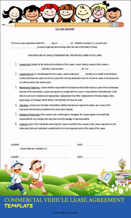 Permalink to Commercial Vehicle Lease Agreement Template