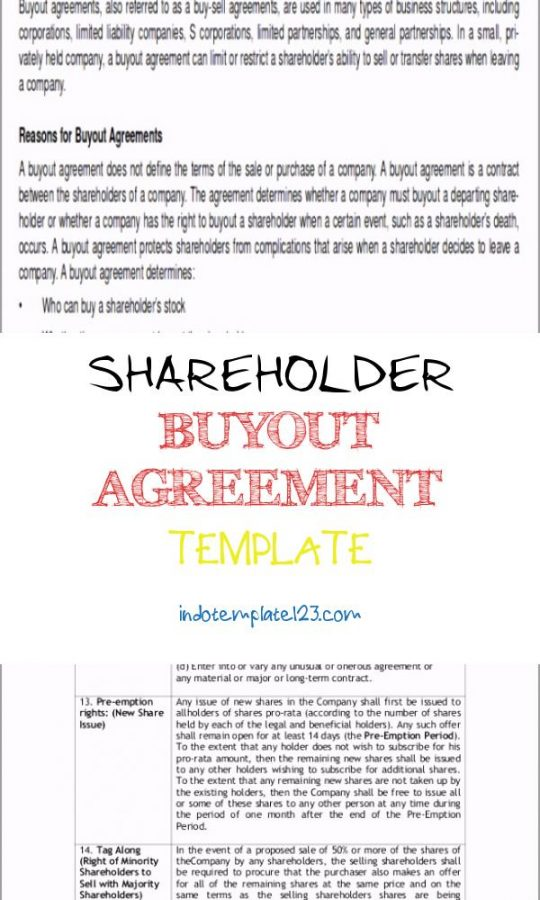 Permalink to Shareholder Buyout Agreement Template