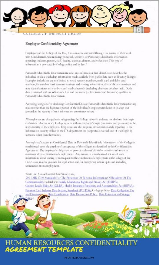 Permalink to Human Resources Confidentiality Agreement Template