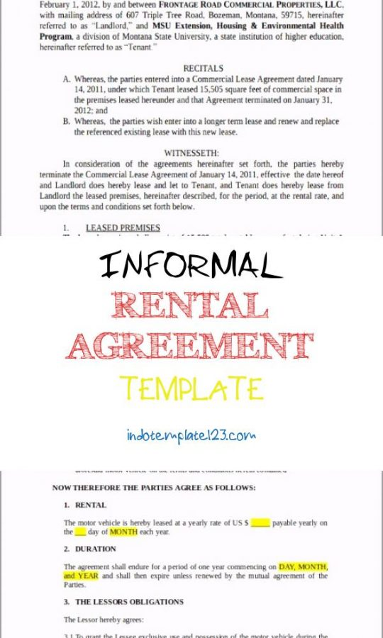 Permalink to Informal Rental Agreement Template