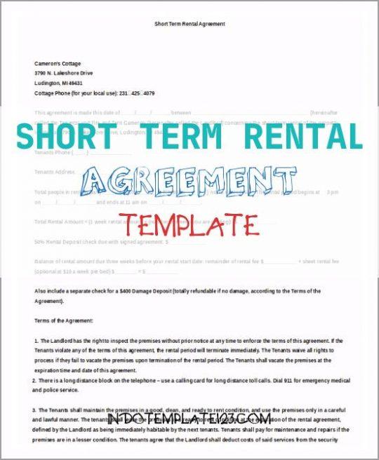 Permalink to Short Term Rental Agreement Template