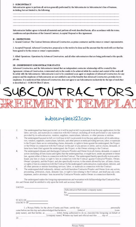 Permalink to Subcontractors Agreement Template