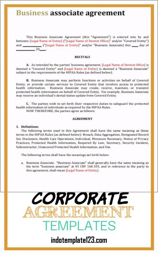 Permalink to Corporate Agreement Templates