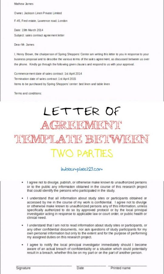 Permalink to Letter Of Agreement Template Between Two Parties