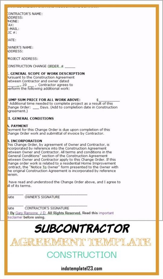 Permalink to Subcontractor Agreement Template Construction