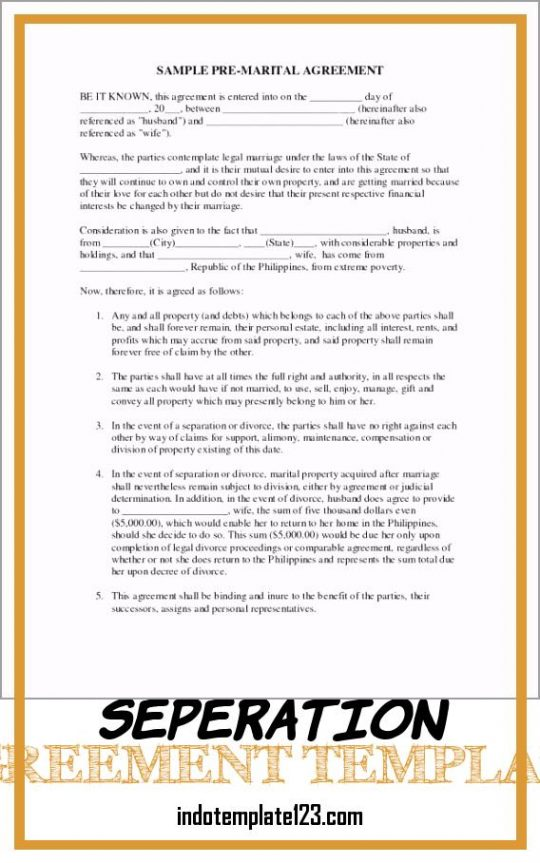 Permalink to Seperation Agreement Template