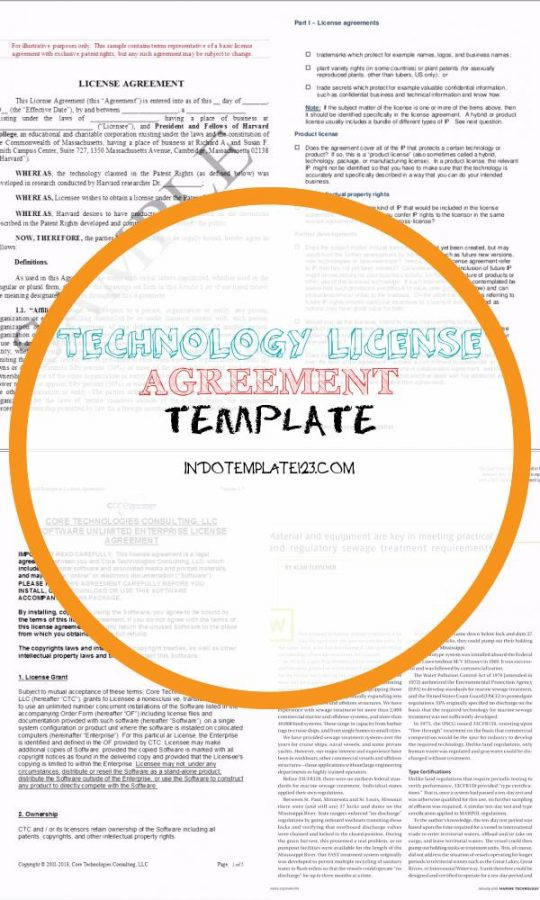 Permalink to Technology License Agreement Template