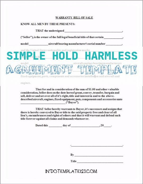 Permalink to Simple Hold Harmless Agreement Template