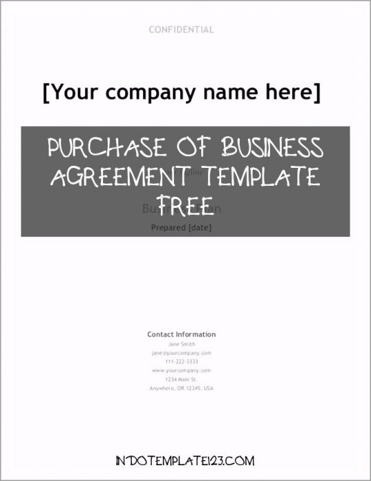 Permalink to Purchase Of Business Agreement Template Free