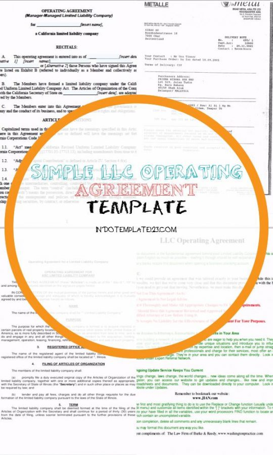 Permalink to Simple Llc Operating Agreement Template