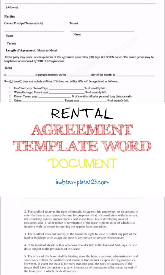 Permalink to Rental Agreement Template Word Document