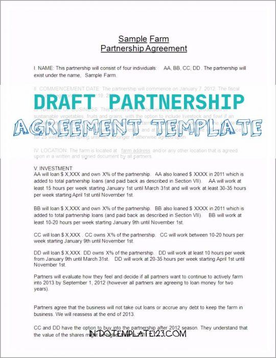 Permalink to Draft Partnership Agreement Template