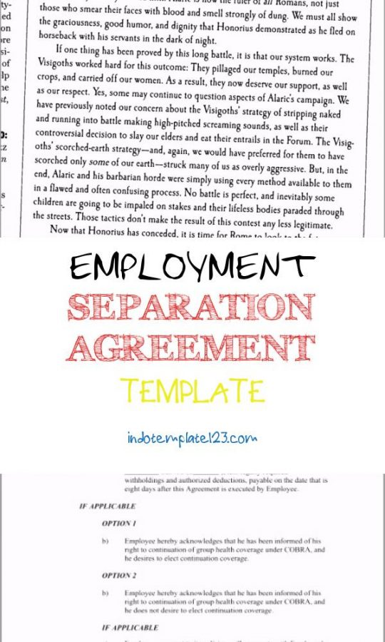Permalink to Employment Separation Agreement Template