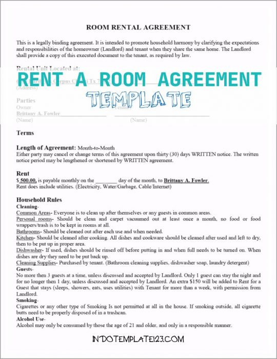 Permalink to Rent A Room Agreement Template