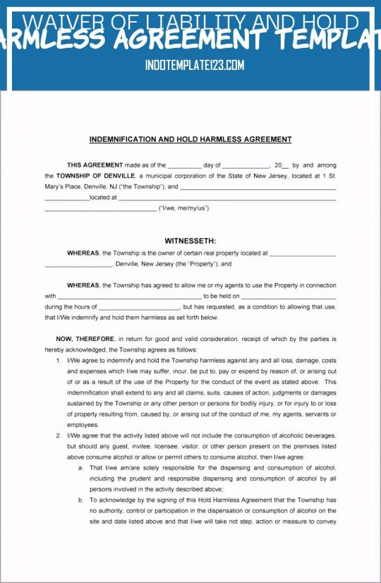 Permalink to Waiver Of Liability and Hold Harmless Agreement Template