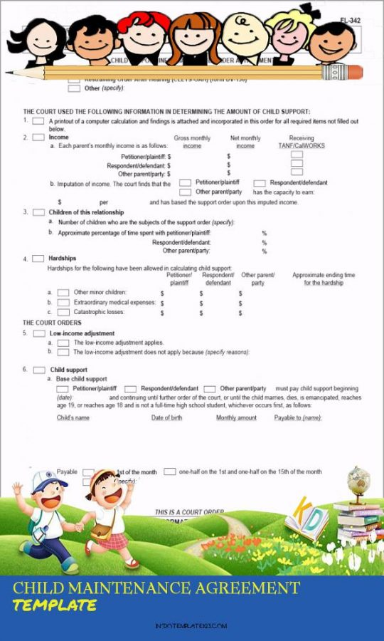 Permalink to Child Maintenance Agreement Template