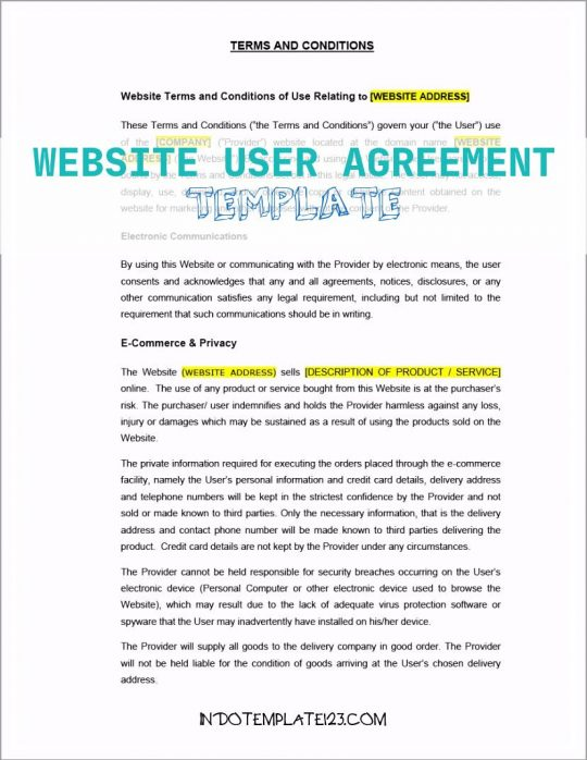 Permalink to Website User Agreement Template