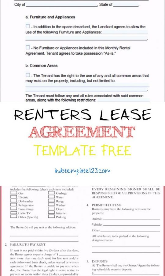 Permalink to Renters Lease Agreement Template Free