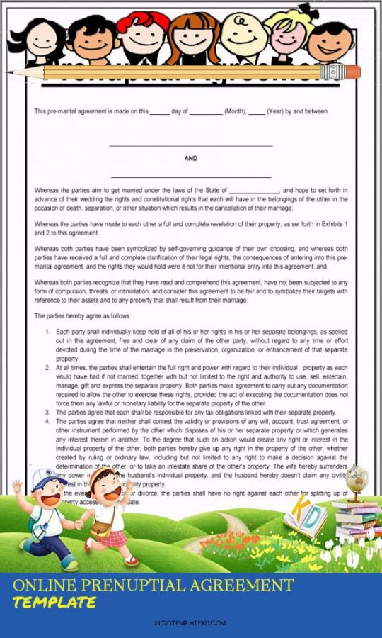 Permalink to Online Prenuptial Agreement Template