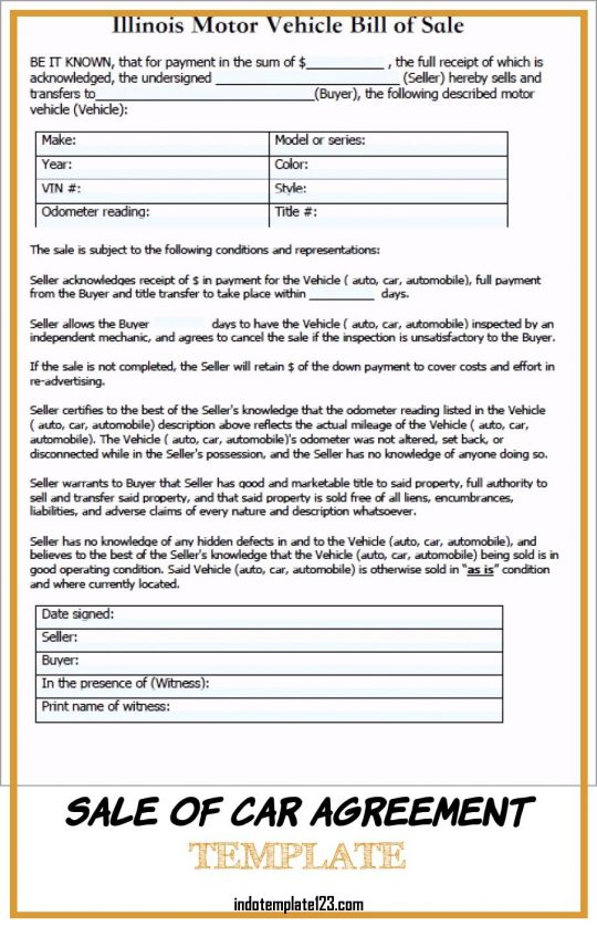Permalink to Sale Of Car Agreement Template
